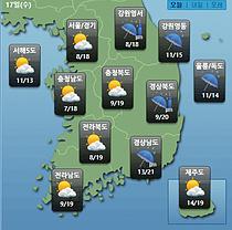 [오늘 날씨] 전국 맑음...전국 곳곳 한때 비