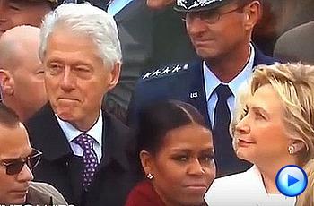 트럼프 취임식 참석한 이반카 쳐다보는 빌 클린턴
